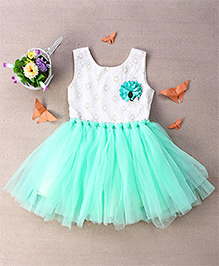 Eiora Trendy Dress With Lace - White & Green