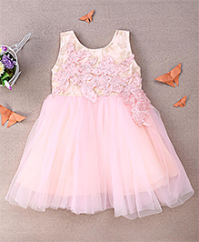 Eiora Leaf Applique Dress With Pearls - Pink