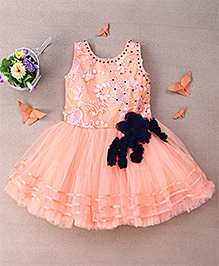 Eiora Stylish Party Wear Dress With Flower Applique - Peach