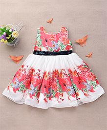 Eiora Flower Print Dress With Sequin Work On The Waist - Multicolour