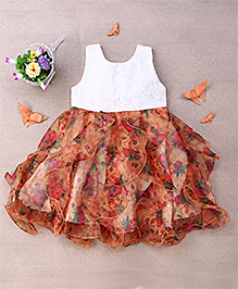 Eiora Floral Print Dress With Ruffles - Dark Brown