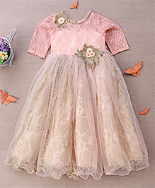 Eiora Classy Gown With Flower Applique - Peach