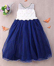 Eiora Flower Motif Gown With Pearls - Blue