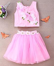 Eiora Partywear Skirt & Top Set - Pink