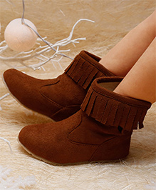 D'chica Chic Fringed High Ankle Boots - Brown