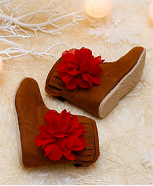 D'chica Fringed High Ankle Boots With A Flower - Brown & Red