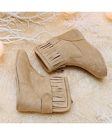 D'chica Fringed Chic High Ankle Boots - Light Brown
