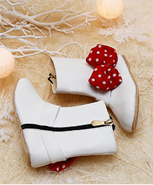 D'chica Polka Bow Mid Calf Boots - White & Red