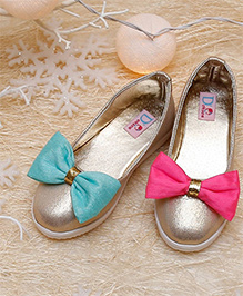 D'chica Chic Mismatch Bows Ballerina Shoes - Golden