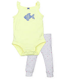 Carter's Body Suit With Leggings - Yellow White