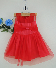 Tiny Toddler Party Dress With Tulle Bow - Red
