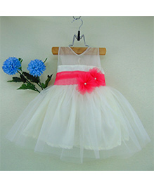 Tiny Toddler Party Dress With Tulle And Pearl Flowers - White & Pink