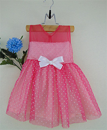 Tiny Toddler Polka Dot Tulle Dress With Double Bow - Pink