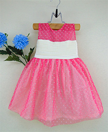 Tiny Toddler Polka Dot Party Dress With Pleat Detail On Top - Pink