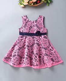 Enfance Floral Dress With A Cute Rose - Pink