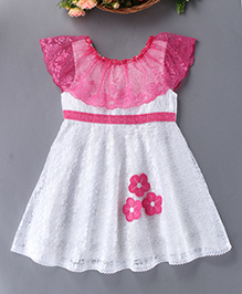 Enfance Beautiful Design Dress With Floral Patch - Pink & White