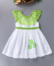 Enfance Beautiful Design Dress With Floral Patch - Green & White