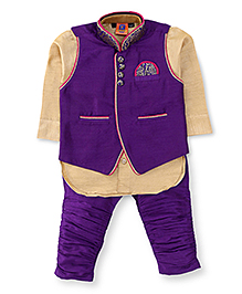 Kreesh Full Sleeves Kurta Pyjama And Waistcoat - Purple And Golden