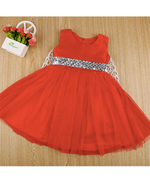 Wonderland Sleeveless Party Dress With Sequins - Red