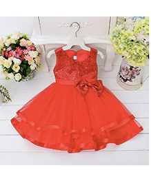 Wonderland Elegant Sequined Dress With Layers - Red