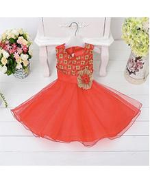 Wonderland Beautiful Floral Applique Flared Dress - Red