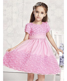 Wonderland Pretty Rosette Party Dress - Pink