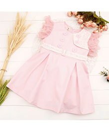 Wonderland Beautiful Ruffled Sleeves Casual Dress - Pink