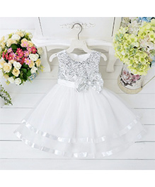 Wonderland Elegant Sequined Dress With Layers - White