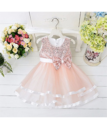 Wonderland Elegant Sequined Dress With Layers - Peach