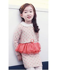 Wonderland Elegant Polka Dot Peplum Dress - Multicolour