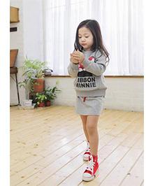 Wonderland Pretty Winter Top & Skirt Set - Grey