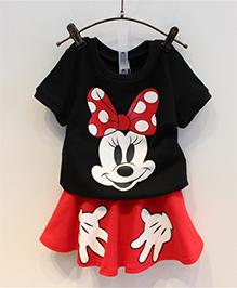 Wonderland Mouse Print Top & Skirt Set - Black & Red