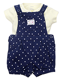 Carter's Dungaree Style Romper With Stripe Top -  Navy