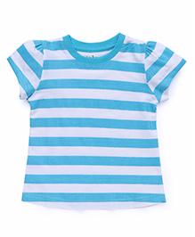 Babyhug Short Sleeves Striped T-Shirt - Sky Blue