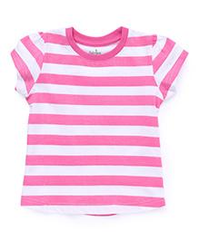 Babyhug Short Sleeves Striped T-Shirt - Pink