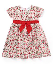 Babyhug Short Sleeves Floral Printed Frock - Red