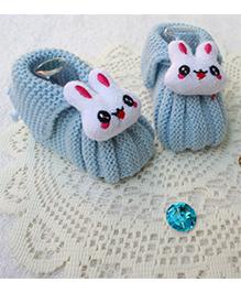 Little Bunnies Woolen Booties With Bunny - Blue