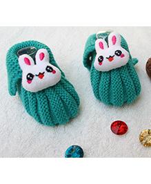 Little Bunnies Woolen Booties With Bunny - Dark Green