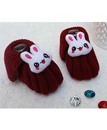 Little Bunnies Woolen Booties With Bunny - Dark Maroon