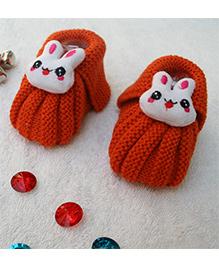 Little Bunnies Woolen Booties With Bunny - Dark Orange