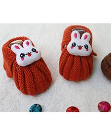 Little Bunnies Woolen Booties With Bunny - Orange