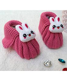 Little Bunnies Woolen Booties With Bunny - Dark Pink