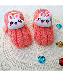 Little Bunnies Woolen Booties With Bunny - Peach