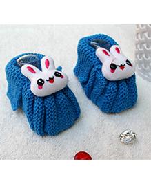 Little Bunnies Woolen Booties With Bunny - Royal Blue