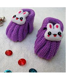 Little Bunnies Woolen Booties With Bunny - Violet