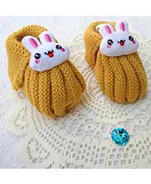 Little Bunnies Woolen Booties With Bunny - Mustard
