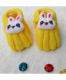 Little Bunnies Woolen Booties With Bunny - Yellow