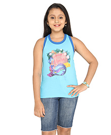 Imagica Sleeveless Mermaid Neera Printed Racer Back Top - Blue