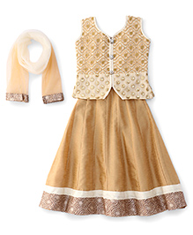 Bluebell Sleeveless Choli With Lehenga And Dupatta Set - Cream & Light Brown