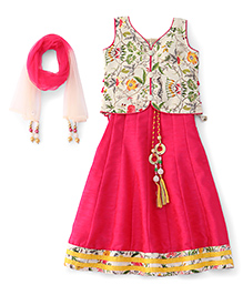 Bluebell Sleeveless Floral Print Choli Lehenga And Dupatta Set - Tomato Pink